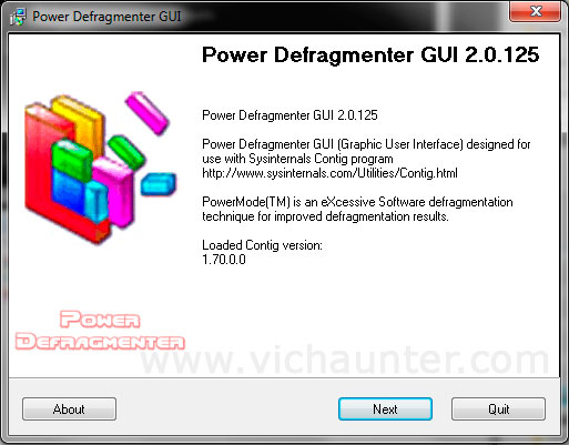 contig power defragmenter gui