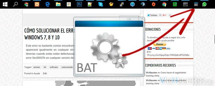 Como anclar un bat a la barra de tareas de windows 10
