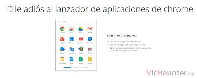 Google chrome elimina el app launcher