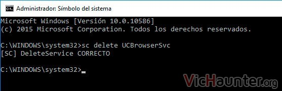 eliminar servicio windows 10