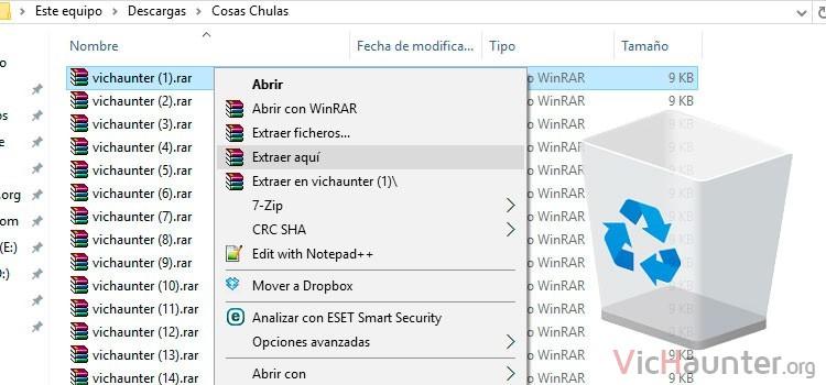Cómo borrar archivos automáticamente al descomprimirlos con Winrar