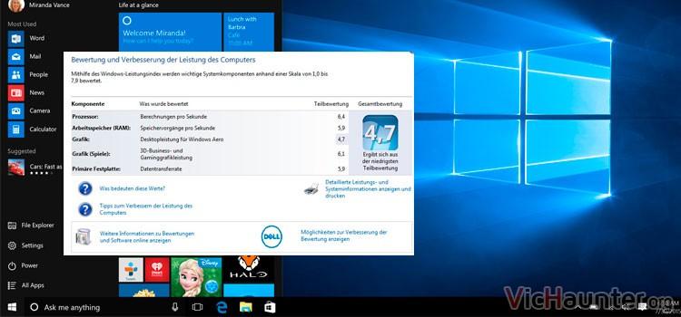 Cómo mostrar evaluación experiencia windows 10