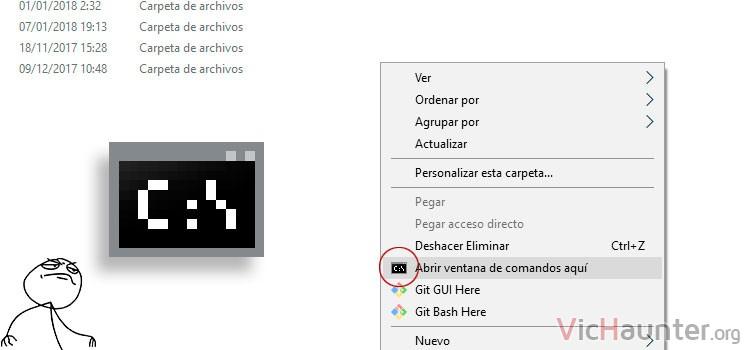 Cómo poner consola de comandos en el botón derecho abrir aquí