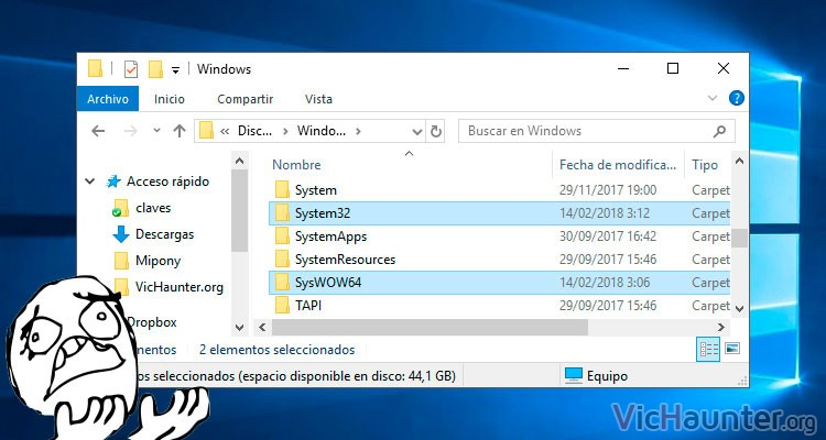 Por qué hay una carpeta syswow64 y otra system32 en windows