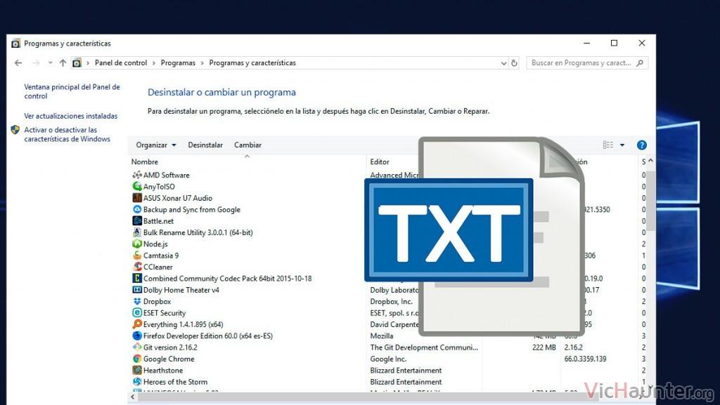 Cómo guardar una lista de todos los programas en Windows 10