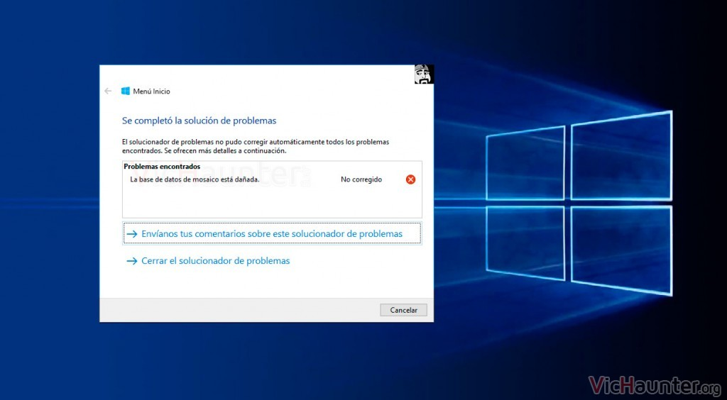 Cómo arreglar la base de datos de mosaico dañada windows 10