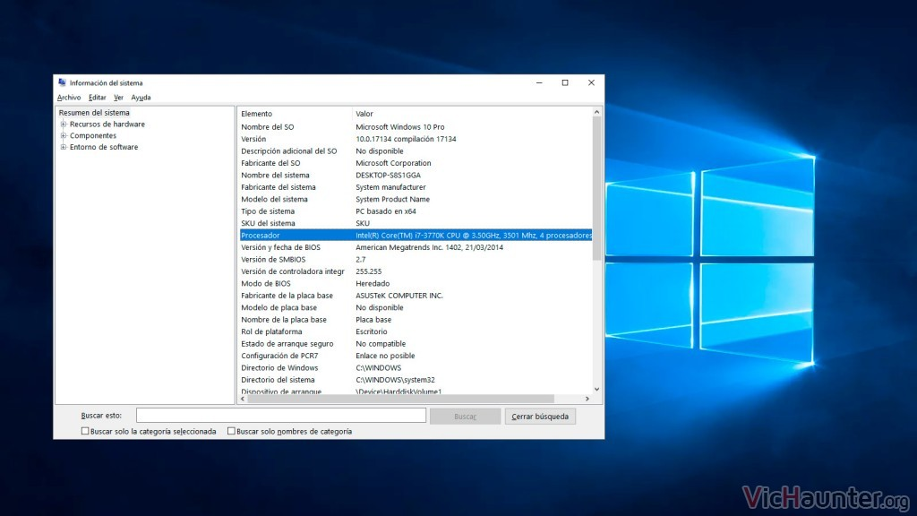 Cómo ver las especificaciones de hardware en windows 10 de forma nativa