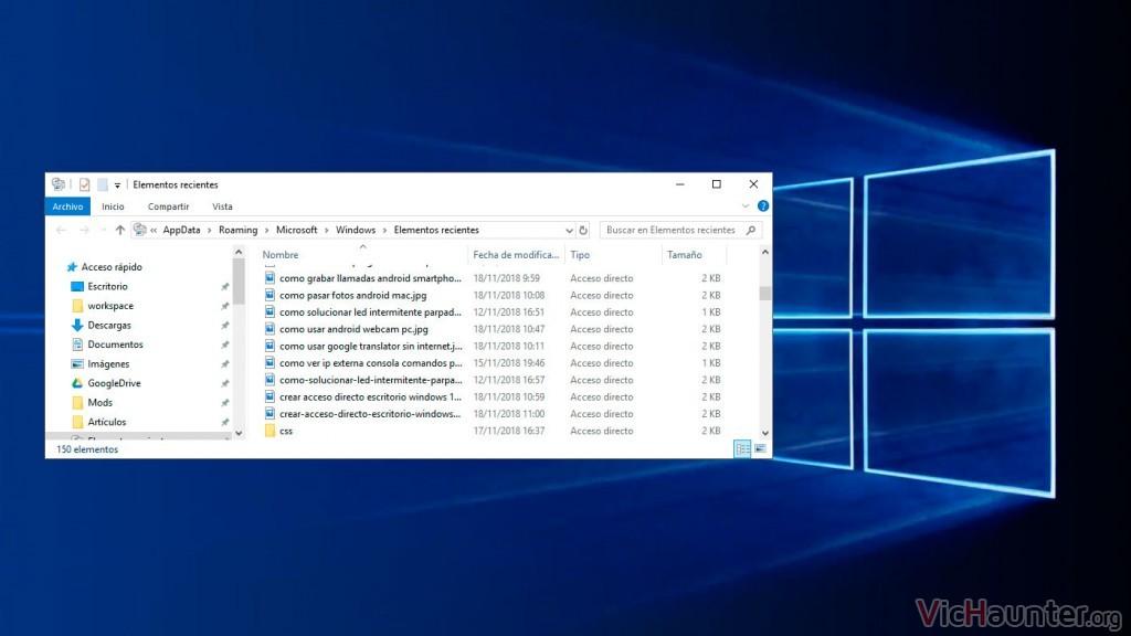 Cómo abrir lista de archivos usados recientemente en Windows 10