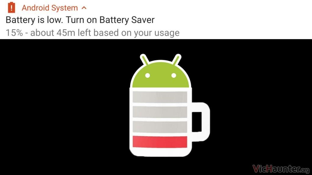 Cómo quitar la notificación de batería baja en Android Pie