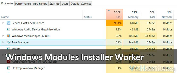Cpu al 100% por windows modules installer worker