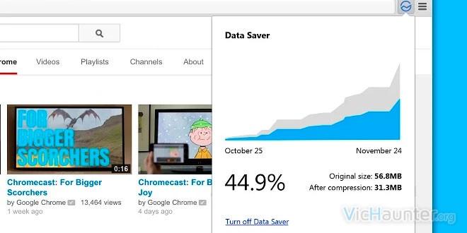 Google chrome ahorro ancho banda