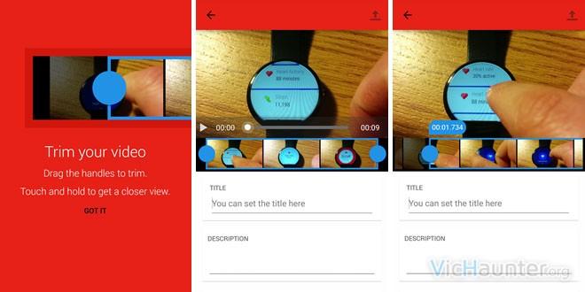 Nueva función para recortar vídeos al subirlos desde android a youtube