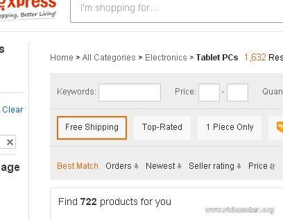 Filtrar productos envío gratis aliexpress