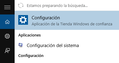 menú inicio windows 10 configuracion